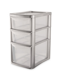 Large 3-Drawer Tower - Clear/ Silver