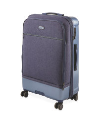 Large Blue Hybrid Suitcase