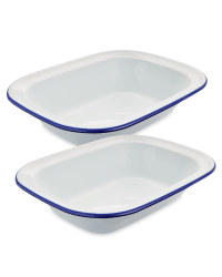 Large Enamel Pie Dishes 2-Pack