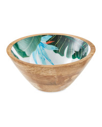 Large Floral Mango Wood Bowl