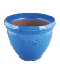 Large Glazed Effect Plastic Pot - Blue