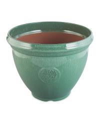 Large Glazed Effect Plastic Pot - Green
