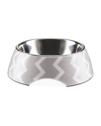 Large Grey Chevron Pet Bowl