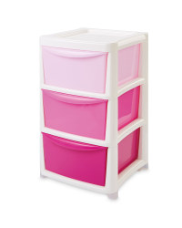 Premier Large Ombre 3 Drawer Tower - Pink