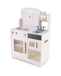 Large Pink Wooden Toy Kitchen