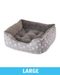 Large Plush Dog Bed - Grey Cactus