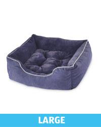 Large Plush Dog Bed - Navy