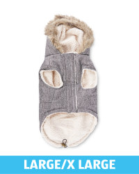 Grey Large Dog Parka Coat
