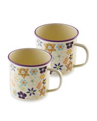 Floral Enamel Mugs 2-Pack
