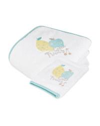 Lemon Hooded Baby Towel & Mitt