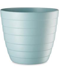 Light Blue Grooved Ceramic Pot