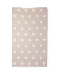 Light Grey Heart Repeat Rug
