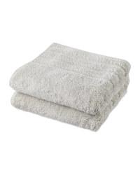 Light Grey Organic Hand Towel 2 Pack