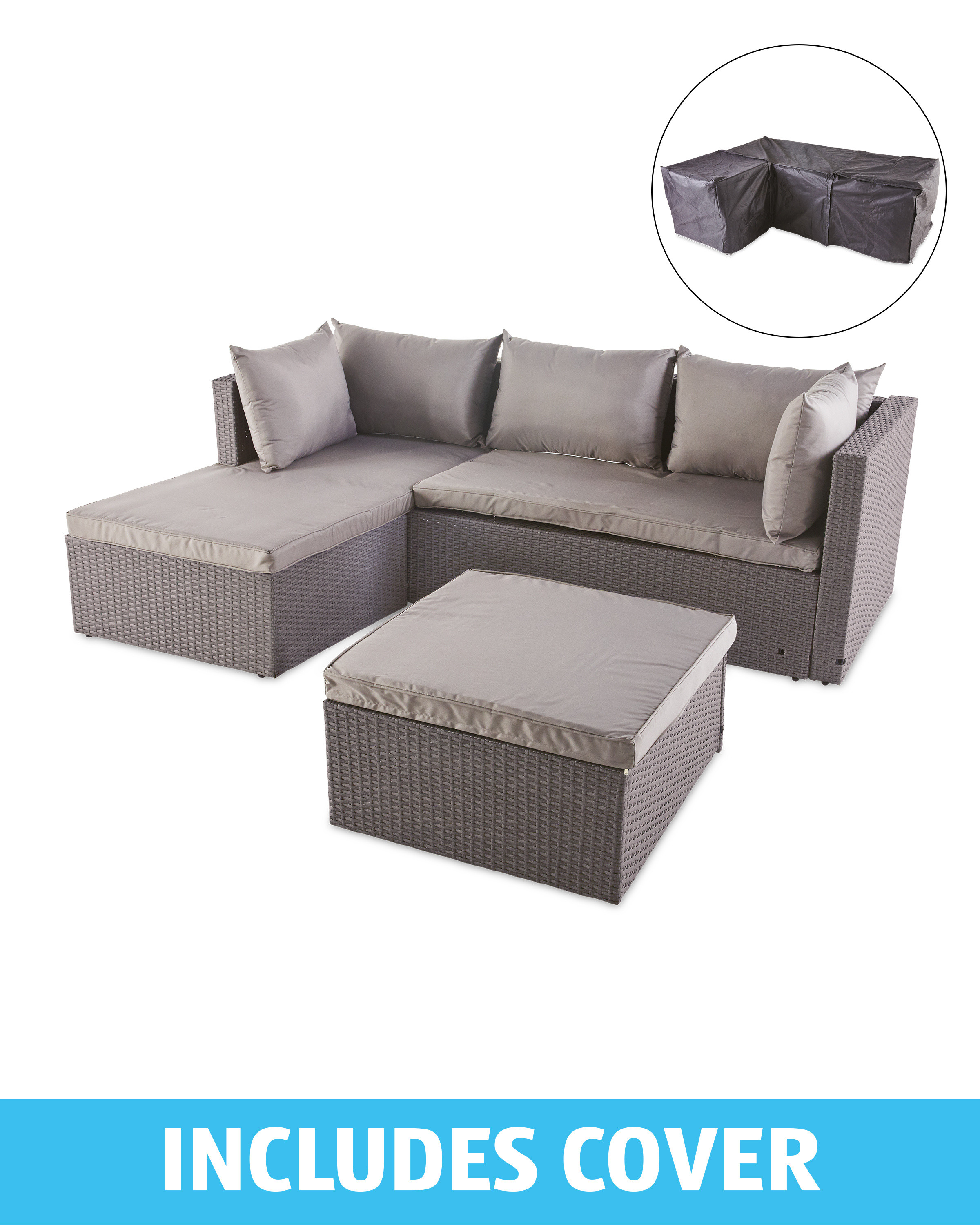 Light Grey Rattan Corner Sofa/Cover