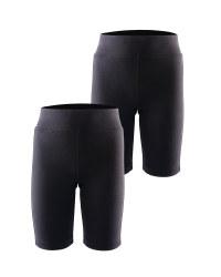 Lily & Dan Cycling Black Shorts 2-Pk