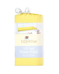 Lily & Dan Fitted Jersey Cot Sheet - Lemon