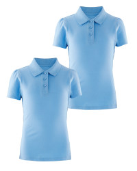 Lily & Dan Girls' Polo Shirts 2-Pack - Blue