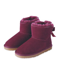 Girl's Lambskin Lined Boot - Plum