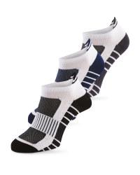 3 Pack Lower-Cut Fitness Socks - Blue/grey/black