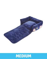 Medium Floral Roll Down Pet Bed - Navy