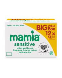 Mamia Sensitive Wipes 12 x 64 Pack