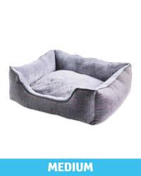 Medium Grey Check Plush Dog Bed