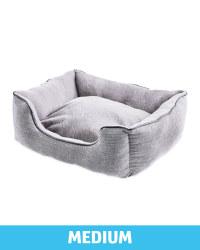 Medium Grey Herringbone Dog Bed