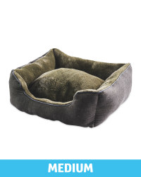 Medium Khaki Herringbone Dog Bed