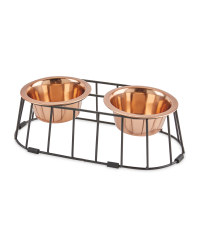 Medium Metal Raised Pet Bowls