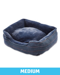 Medium Navy Check Plush Dog Bed