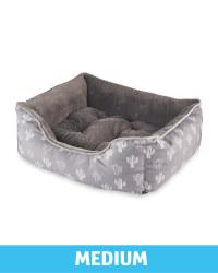 Medium Plush Pet Bed - Grey Cactus