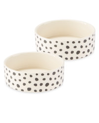 Medium Spots Ceramic Pet Bowl 2 Pack