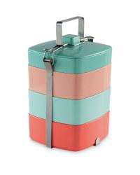 Melamine Stacking Tiffin Box - Teal / Pink