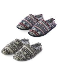 Memory Foam Fairisle Print Slippers