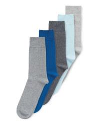 Men's Blue/Grey Socks 5 Pack