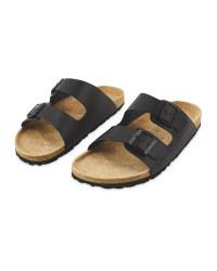 Men's Black Footbed Sandals