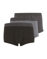 Men's Black Mix Hipsters 3 Pack