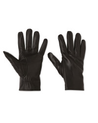 Men's Black Ribbed Leather Gloves