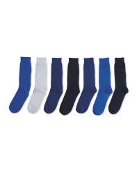 Men's Avenue Blue Socks 7-Pack