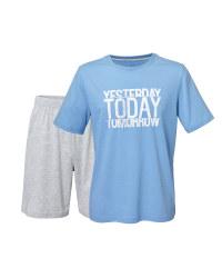 Men's Blue/Grey Shorty Pyjamas
