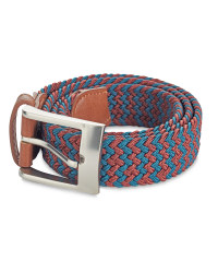 Men's Braided Belt - Olive/Dark Red