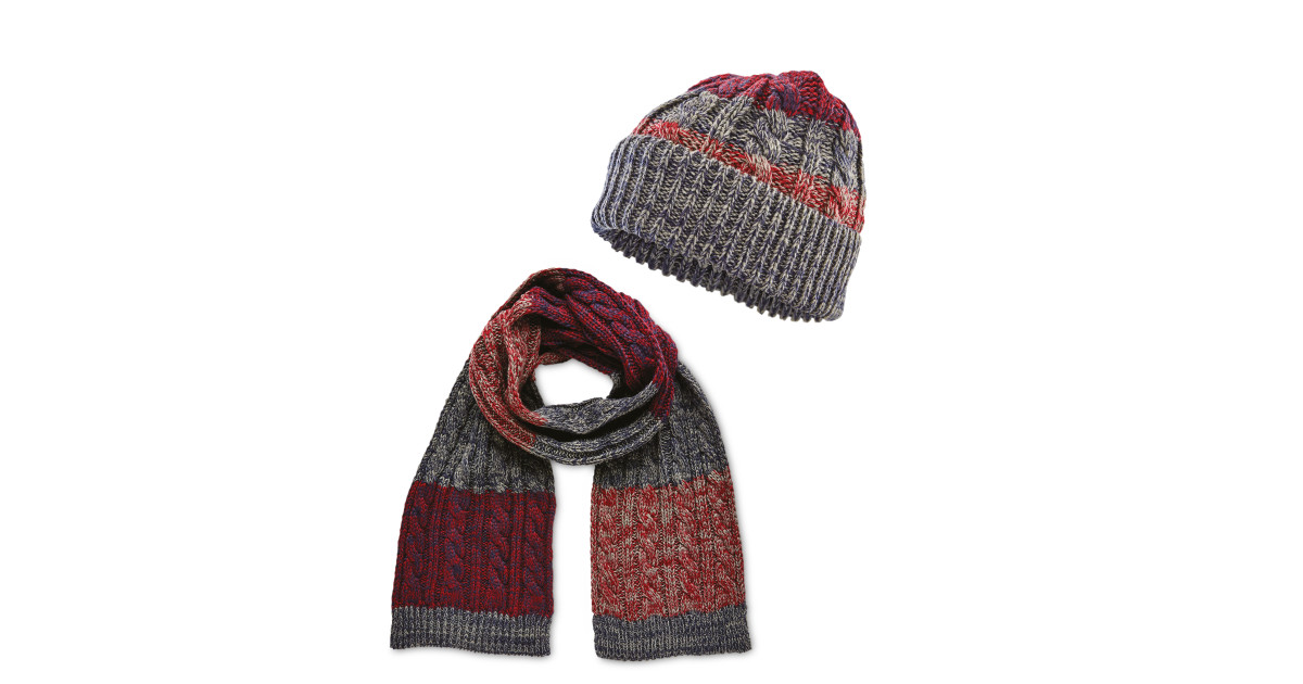 Mens Burgundy Hat And Scarf