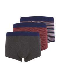 Men's Burgundy Mix Hipsters 3 Pack
