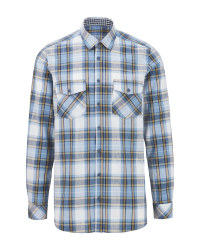 Avenue Men's Blue Check Casual Shirt