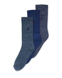 Men's Blue Chunky Socks 3 Pack