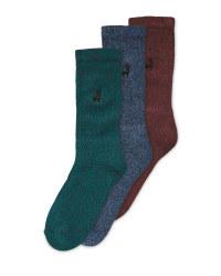 Men's Blue/Green Chunky Socks 3 Pack