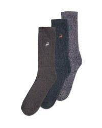 Men's Chunky Socks 3 Pack - Green Marl