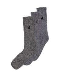 Men's Chunky Socks 3 Pack - Grey Marl