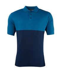 Men's Colour Block Polo Shirt - Blue / Navy