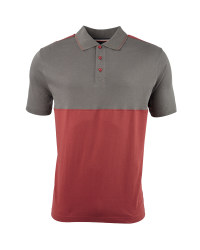 Men's Colour Block Polo Shirt - Charcoal / Burgundy